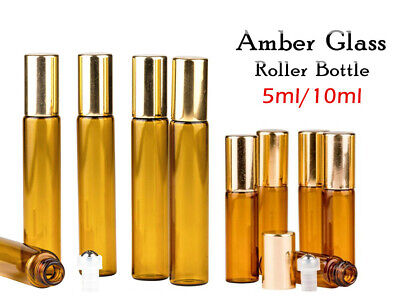 2-50x 5ml 10ml Glass Bottles Amber Metal Roller Essential Oil Gold Refillable AU