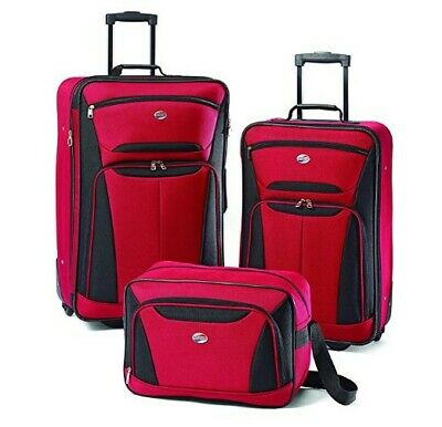 American Tourister Fieldbrook Ii Softside Luggage Set , Red-Black / Purple-Grey