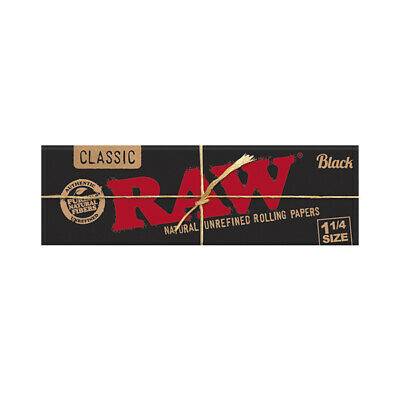 Raw Classic Black 1 1/4 Size Natural Unrefined Rolling Paper - 50 leaves