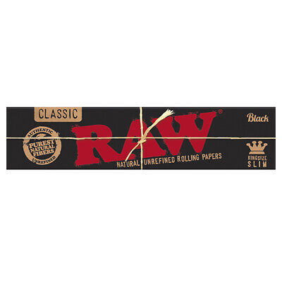 Raw Classic Black KingSize Slim Natural Unrefined Rolling Paper - 32 leaves