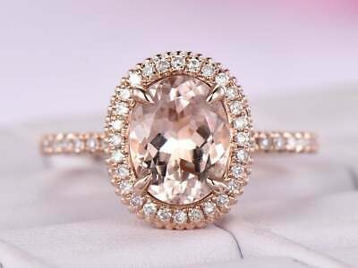 2.50Ct Oval Cut Morganite Vintage Halo Engagement Ring 14K Rose Gold Finish