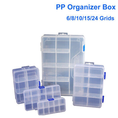 Storage Box Plastic Jewelry Organizer 10/15/24 Compartment Container Case