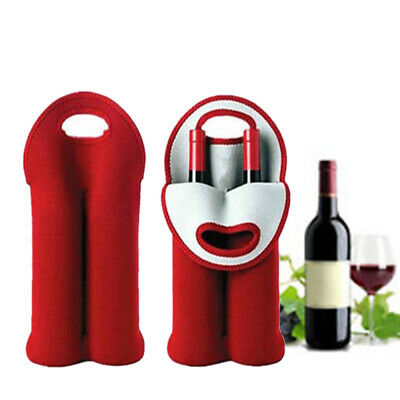 Portable Insulated Hand Held Cooler Two Wine Bottle Bag Protective Sleeve Cover