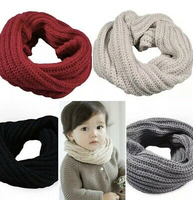 Kids Girls Boy Toddlers Babies Scarf SNOOD KNITTED Woolly Crochet Winter Hat