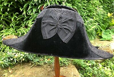Early 20Th Century Black Embellished Naval (Cocked) Bicorn Hat 56Cm