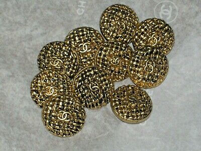 Chanel 9 Cc Logo  Antique Gold Metal Buttons  12  Mm/Around 1/2''  New Lot 9