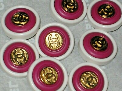 Chanel  7 Gold  Metal Cc Logo Front Dark Pink  White Resin  Buttons 14 Mm Lot 7