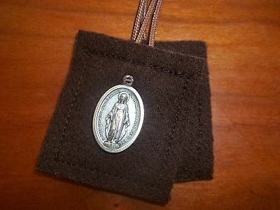 Brown Scapular of Our Lady of Mt. Carmel WOOL Miraculous Medal Handmade DURABLE