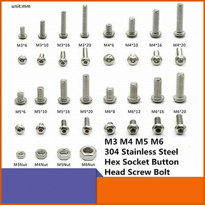M3/M4/M5/M6 8-50mm 304 Stainless Steel Hex Button Head Cap Bolts Screws Nuts Kit