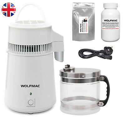 Wolfmac® White Stainless Steel Water Distiller with Glass Jug - UK Supplier