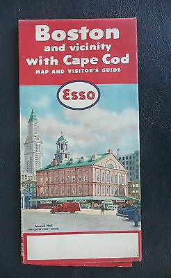 1956 Boston & vicinity  road map  Esso gas oil Faneuil Hall cover Cape Cod
