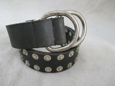 Boy London authentic vintage black leather logo nipple stud D-ring belt 26 28