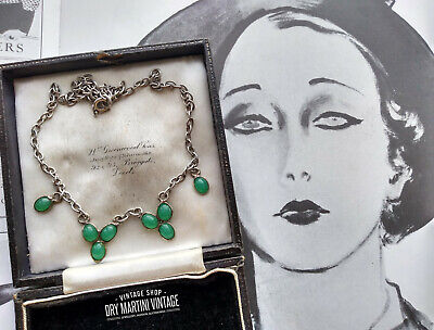 Vintage Art Deco Sterling Silver Chrysoprase Necklace Chalcedony Jade Green Gift