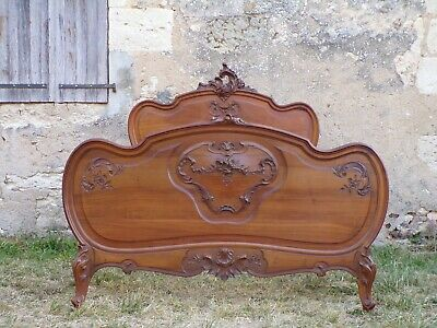High Quality  WALNUT LOUIS XV STYLE HAND CARVED DOUBLE BED - CIRCA 1900 (HS65)