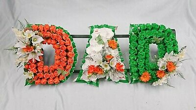 Artificial Silk Funeral Flower Wreath 3 LETTER DAD Tribute Memorial Irish Flag