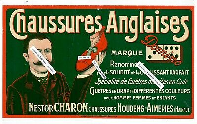 1910 Belgium French Domino English Shoes Advertising Sign Chaussures Anglaises