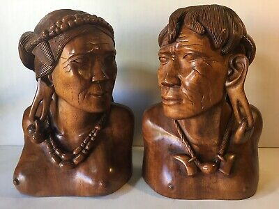 African Tribal Hand Carved Wood Sculpture Bust Pair 2 Man Woman Stretched Ears
