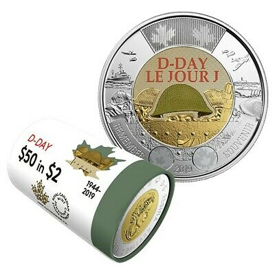 2019 CANADA BU 2 Dollar D-DAY Coloured Toonie Coin From Mint Roll UNC