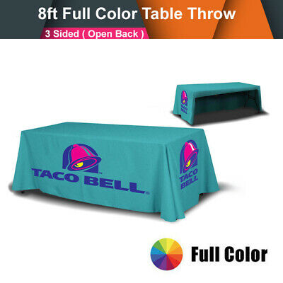 Custom 8' / Table Cover Throw Tablecover 3 Sided Trade Show Full Color