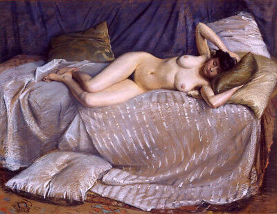 """perfect oil painting handpainted on canvas """"nude woman lying on a couch""""@N10389"""