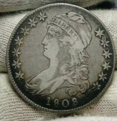 1808/7 Capped Bust Half Dollar 50 Cents - Nice Coin Free Shipping (8652)