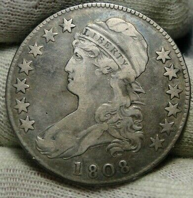 1808 Capped Bust Half Dollar 50 Cents - Nice Coin Free Shipping (8653)