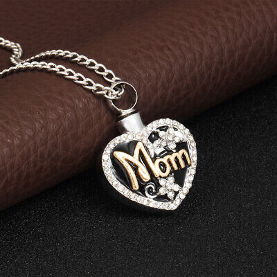 Mom Love Heart Memorial Urn Sliver Necklace For Ashes Cremation Pendant Keepsake