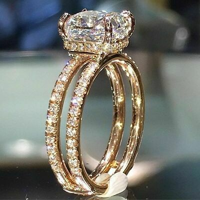 Exquisite Woman 18K Yellow Gold Filled White Topaz Ring Wedding Jewelry Sz 5-11