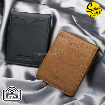 Rfid Blocking Leather Wallet Credit Card Holder Slim Men's Money Cash Clip Purse