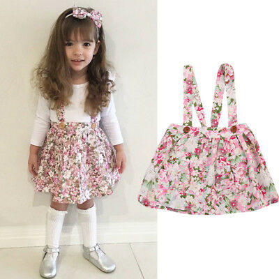 Newborn Kid Baby Girl Floral Clothes Party Princess Bib Strap Tutu Skirt Dress Z