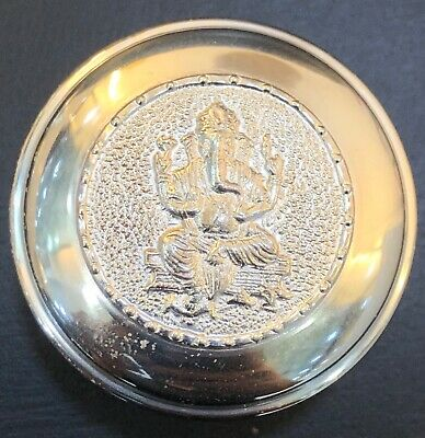 925 Sterling Silver Round Shaped Small Snuff Pill Box Lord Ganesh Design On Lid