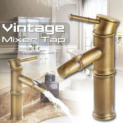 Imitation Bamboo Vintage Bronze Basin Sink Faucet Hot and Cold Water Deck Mount