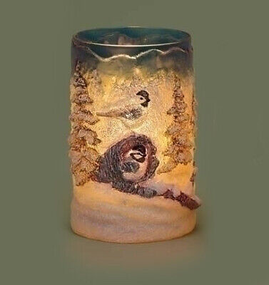 """Roman 6"""" Rustic Winter Forest Birds Textured Christmas Votive Candle Holder"""