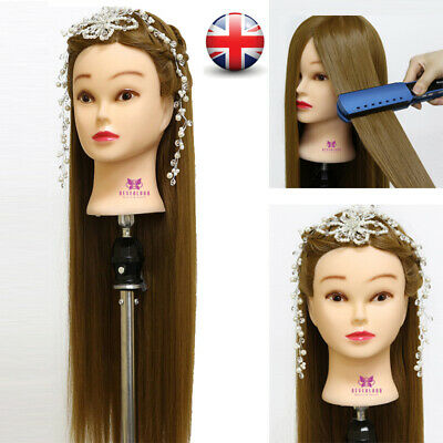 """30"""" Long Hairdressing Hair Training Head Model Mannequin Doll With Free Clamp UK"""