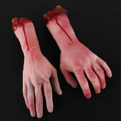 Realistic Hands Terror Bloody Fake Body Parts Severed Arm Hand Halloween Props