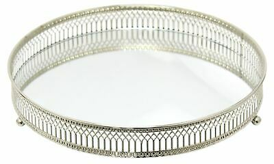 Decorative Silver Mirror Tealight Candle Plate Display Tray 25cm, Perfume Tray