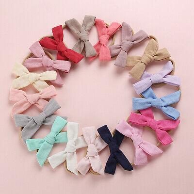 Kids Baby Toddler Cotton Linen Nylon Bow Headband Solid Color Hairband Hair Ring