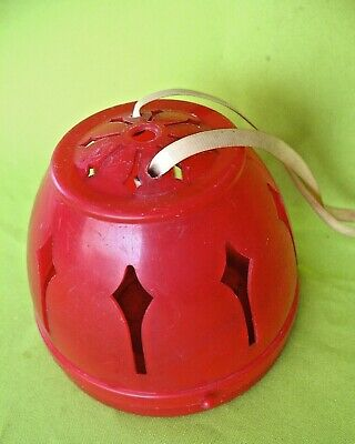 Rare old vintage Red Plastic pierced  Beehive style knitting wool holder