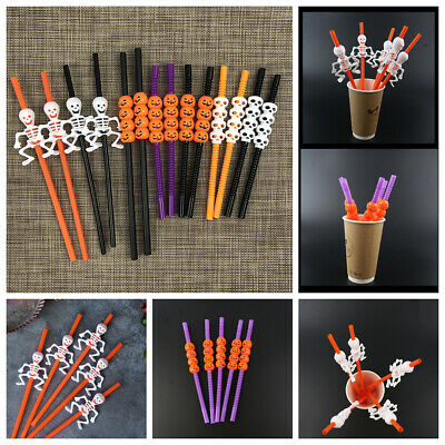 Halloween Ghost Spider Pumpkin BNIP New 16 White Purple Paper Drinking Straws
