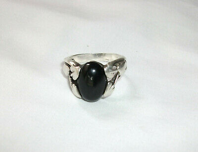 Lovely Antique, Vintage Sterling Silver Black Onyx Ring, Sz 8 1/2