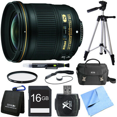 Nikon AF-S NIKKOR 24mm f/1.8G ED Wide Angle Lens for Nikon DSLR Cameras Bundle