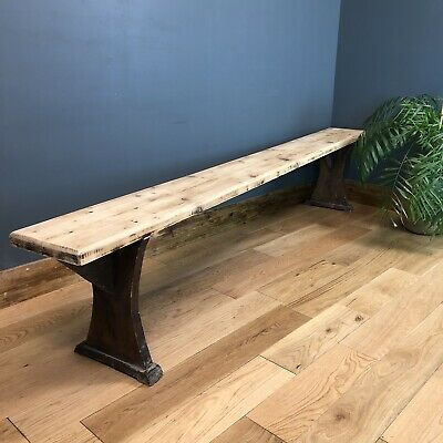 Antique Pine Bench Victorian old rustic seating chairs hallway dining home cafe