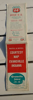 1963? Evensville Indiana stree   map Phillips 66  oil gas Ads