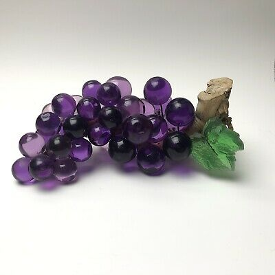 """9 1/2"""" Purple Acrylic Grape Cluster with Acrylic Leaves Too , Vintage MCM"""