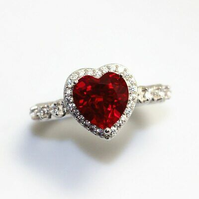 New 925 Sterling Silver Ruby Red D-Shape Wedding Engagement Ring R1205Red Sz 10
