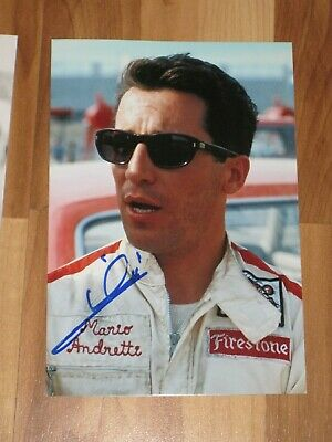 MARIO ANDRETTI Signed 4x6 Photo INDY 500 NASCAR RACING AUTOGRAPH 1D