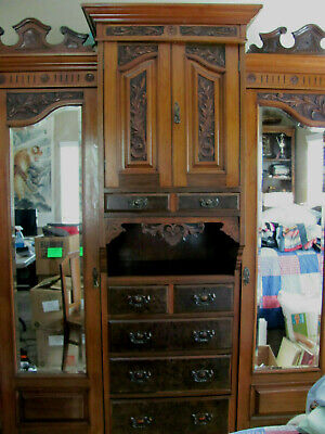 3 Sectioned Antique Wardrobe Armoire-Mirrored Side Cabinets, Drawers, Carvings