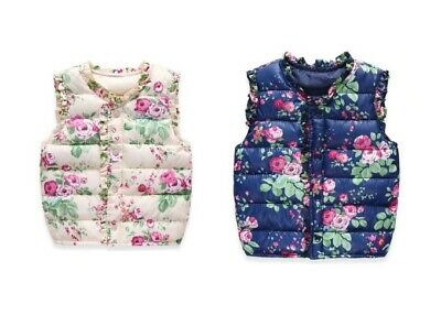 Girls Floral Vest Sweet Print Jackets Outerwear Cotton Warm Children Waistcoat