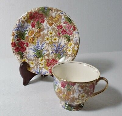 Royal Winton Grimwades MARGUERITE Chintz Demitasse Cup & Saucer Gold Trim