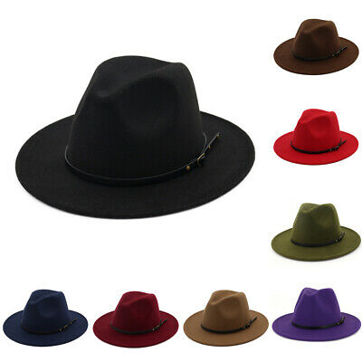 Men Women Vintage Wide Brim Hollow Fedora Hat Church Party Ladies Felt Jazz Cap